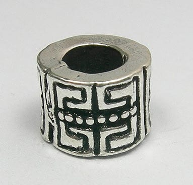 Classic Barrel Round European Style Silver Metal Bead - X1 14