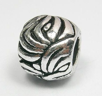 African Style Round European Antique Silver Metal Bead - L1 8