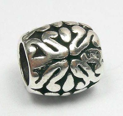Classical Floral Round European Antique Silver Metal Bead - L1 16