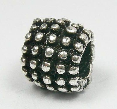 Bumpy Dots Round European Style Antique Silver Metal Bead - L1 13