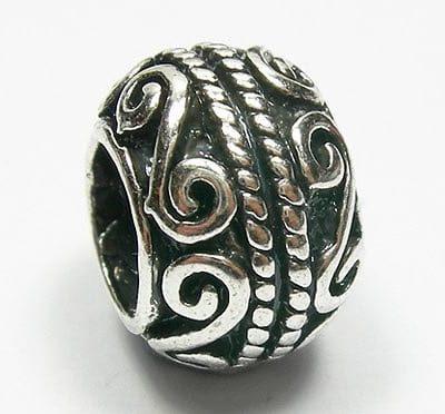 Artistic Round European Style Antique Silver Metal Bead - X1 10