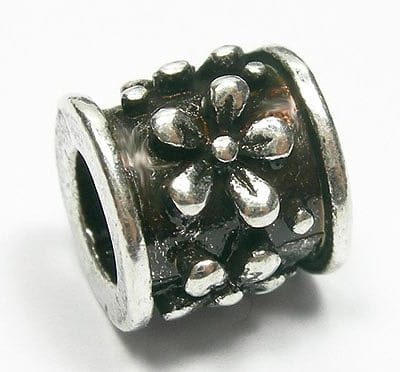 Elegant Floral Round European Style Silver Metal Bead - L1 19