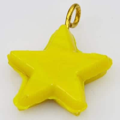 1 Yellow New Season Star Glass Pendant - (20mm) 19