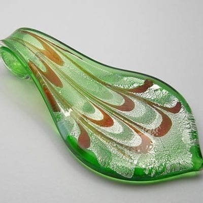 Attractive Murano Glass Leaf Shape Pendant - (60mmx32mm) 14