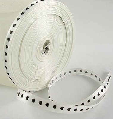 2 Meters Exquisite New Satin White Hearts Ribbon - (10mm) 2