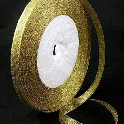 Sparkly Golden Double Sided Organza Ribbon Spool - (22 meters) 11