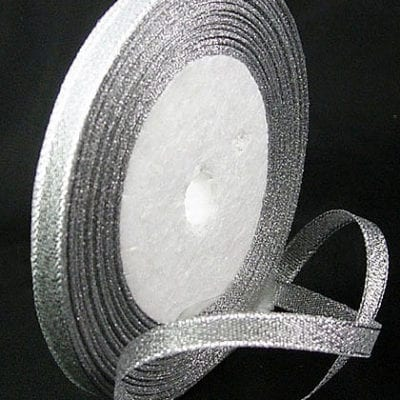 Sparkly Silver Double Sided Organza Ribbon Spool - (22 meters) 12