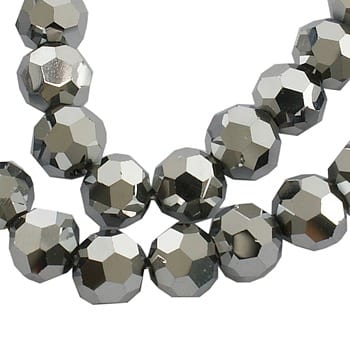 10 Round Czech 'AB' Silver Electro Plated Glass Bead - (10mm) 10