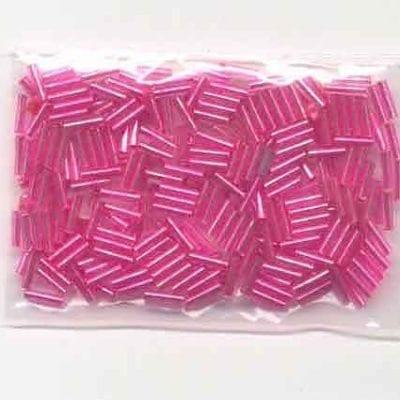 "3"" Pink Bugle Glass Seed Beads - (10 grams) 17"