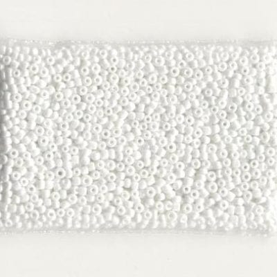 11'0 Lustre Plain Solid White Round Glass Seed Beads - (10 grams) 2