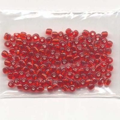6'0 Red Silver Lined Glass Seed Beads - (10 grams) 10