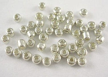 12'0 Lustre Silver Glass Seed Beads - (10 grams Pack) 13