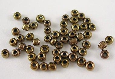 12'0 Lustre Dark Gold Bronze Glass Seed Beads - (10 grams Pack) 5