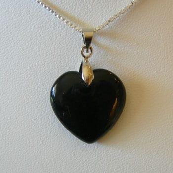 Black Onyx Semi Precious Gemstone Pendant W/Fitted Hook - (20mm) 1