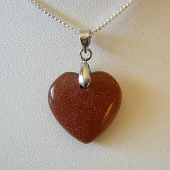 Goldstone Semi Precious Gemstone Pendant W/Fitted Hook - (20mm) 4