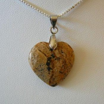 Picture Jasper Semi Precious Gemstone Pendant W/Hook - (20mm) 9