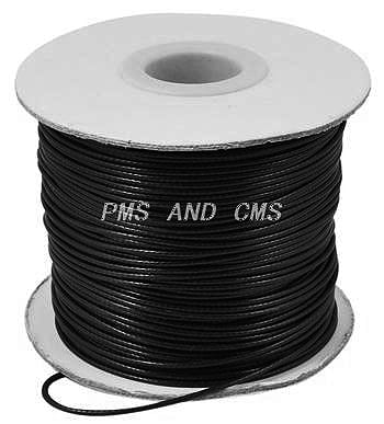 2 Meter Black Cotton Waxed Wire For Jewellery Making - (1mm) 2