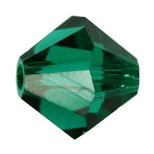 Emerald Swarovski Bicone Crystal Beads (5301) - 6mm 6