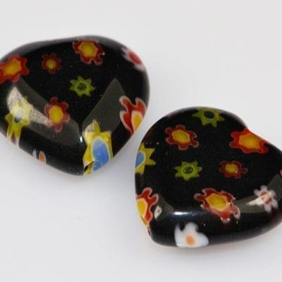 Millefiori Beads - Heart Shape (12mm)