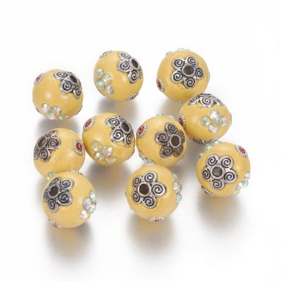 Yellow Hand Made Kashmiri Bead - (15mm), Rhinestone, Silve