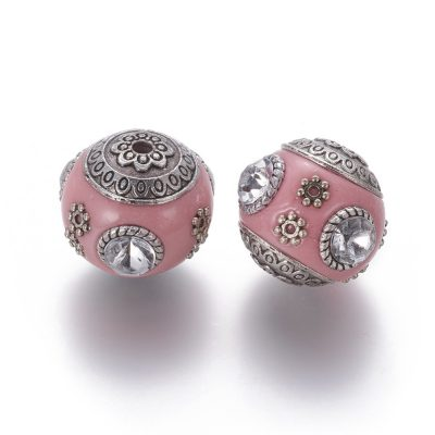 Floral Pink Kashmiri Beads