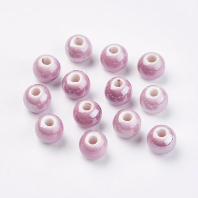 Pink Handmade Plain Porcelain Beads