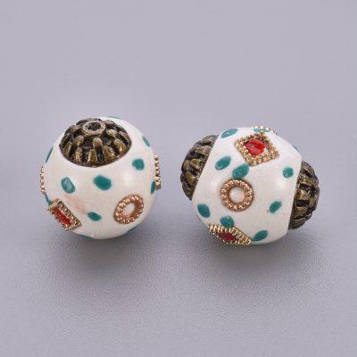 White Antique Bronze Alloy Kashmiri Bead