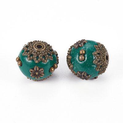 Dark Teal Handmade Kashmiri Bead