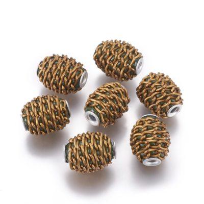 Aluminum Mesh Indonesian Handmade Beads - (16mm) 2