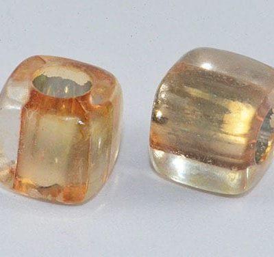 Square Light Topaz Lampwork Acrylic Resin Beads - (8mm) 3